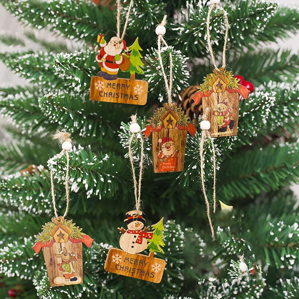 Wood Christmas Decorations.Us 1 08 25 Off Wood Christmas Tree Ornaments Christmas Decorations Wood Santa Claus Ornaments New Years Eve Decorations Pendant Ornaments Drop On