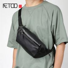 Кожаная мужская нагрудная сумка aetoo повседневная мессенджер