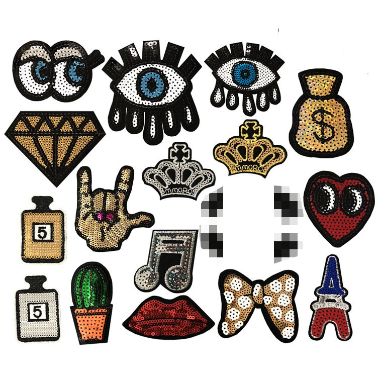 Lips Eye Perfume Bottle Crown Patch Sequin Patch For Clothing Embroidered Iron On Patch Skull Stickers On Clothes