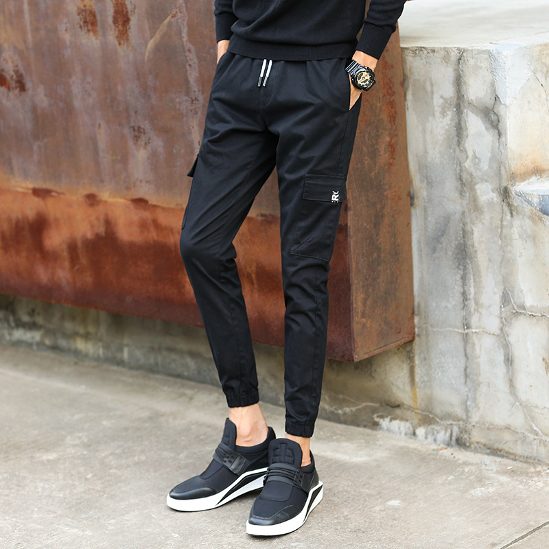 Spring And Summer New Style Men Capri Pants Elastic Pants Casual Pants Korean-style Elasticity Slim Fit Lace-up Ankle Banded Pan