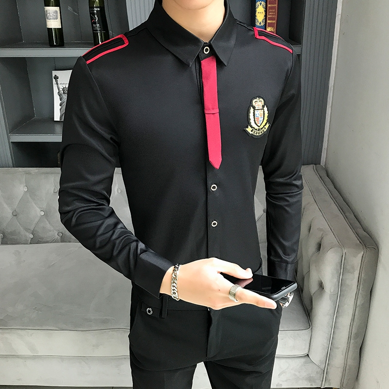 Men's Long-sleeved Shirt Bar Nightclub Hair Stylist Bow Tie Work Shirt Male Shirt Slim Fit Black White Clothing Mens Dress Shirt