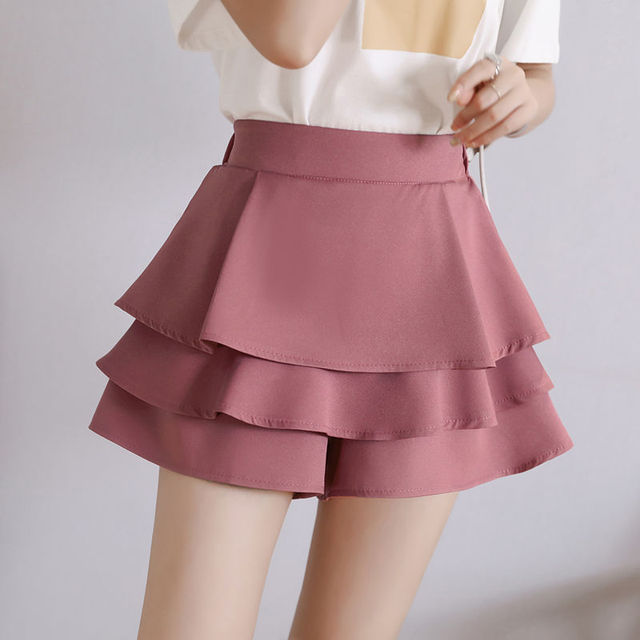 summer chiffon shorts black white green pink elasticated high waist women's Ruffles cake skirt girl lovely sweet student dance 3