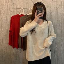 Осенний Новый однотонный пуловер свитер Весна 2020 Женский Повседневный
