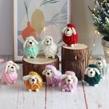 2021 Wool Felt Handmade Sheep Ornament Christmas Ornament Sheep Standing Doll Christmas Tree Pendant Complete Doll Gift Deco