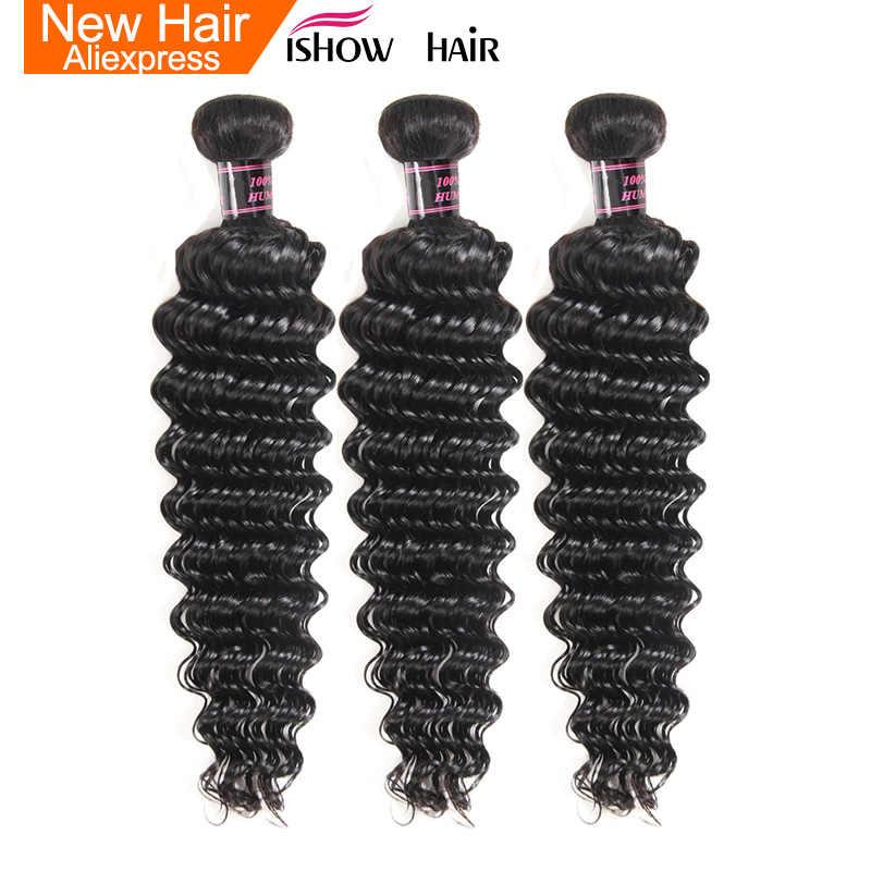 Ishow Haar Peruaanse Diepe Golf Menselijk Haar Weave Bundels Niet Remy Hair Extensions Natuurlijke Kleur Kan Worden geverfd 3 Bundel aanbiedingen Haar