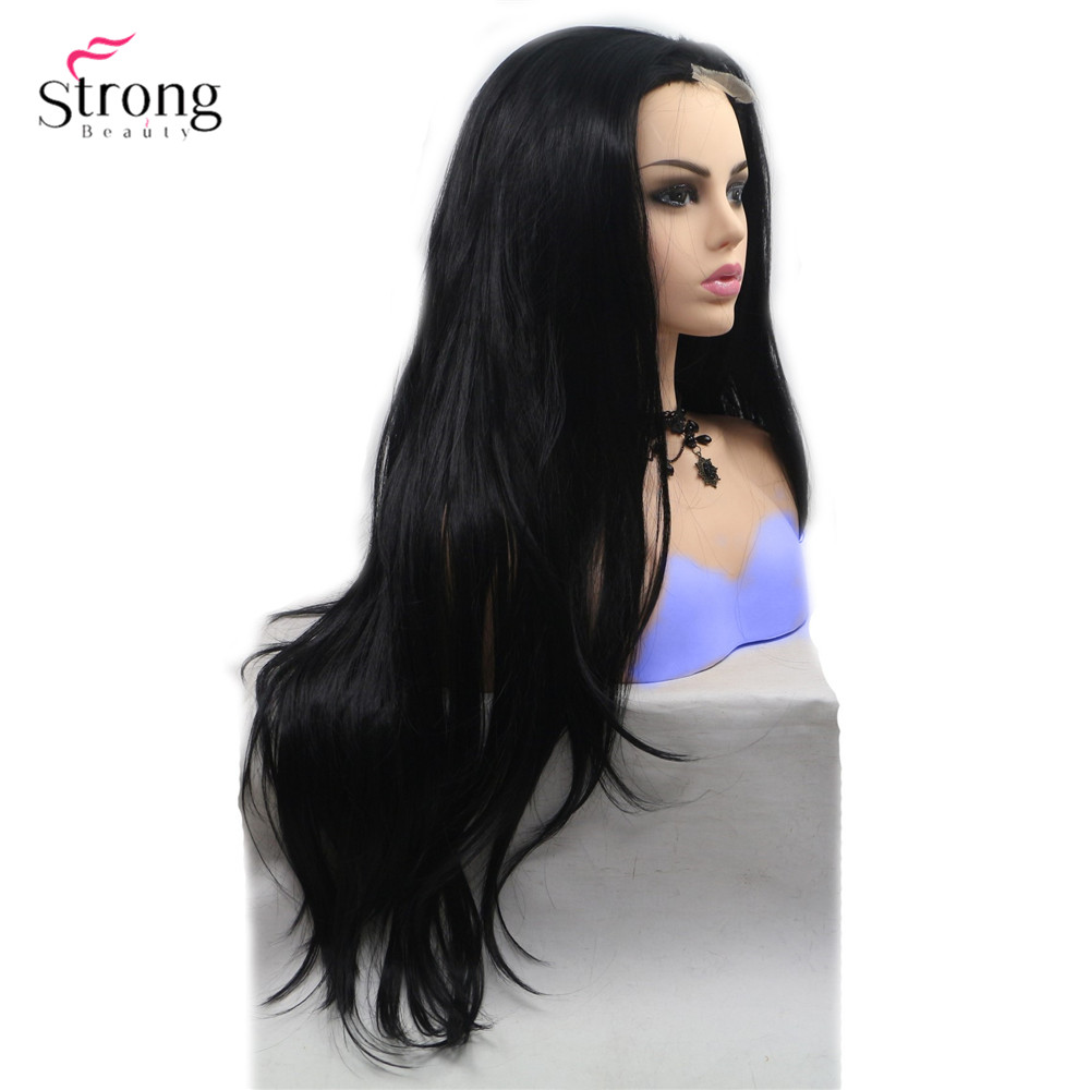 StrongBeauty Long Curly Wig Black Hair Ombre Blonde/Grey Synthetic Lace Front Wigs For Woman
