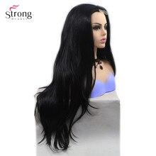 StrongBeauty peruka z długimi kręconymi włosami czarne włosy Ombre blond/szara syntetyczna koronka przodu peruki dla kobiety