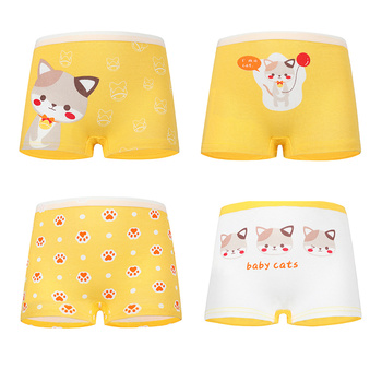 2-12Y Children 4 Pieces/Lot Underwear High Quality Cotton Girls Panties Cute Pattern Kids Boxer Briefs Child Soft girl Pants 1