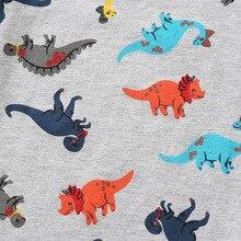 Летняя одежда для мальчиков с короткими рукавами; хлопковая Футболка с динозавром из мультфильма; Детская Футболка серого цвета в европейском и американском стиле на заказ