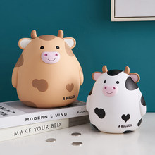 Fun Cow Vinyl Piggy Bank Coin Storage Box Bedroom Study Decoration Accessories Kids Piggy Bank Birthday Gifts
