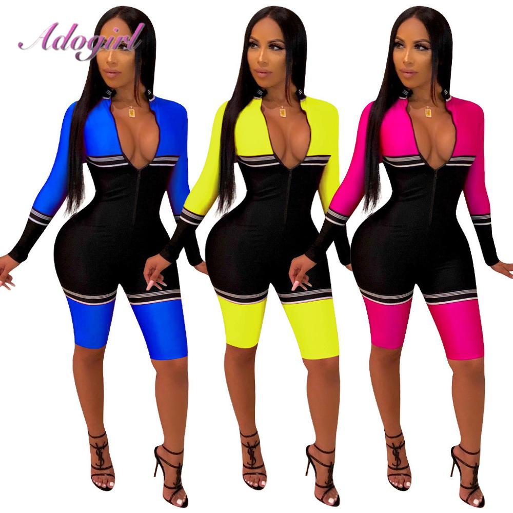 Women Jogging Casual Color Patchwork Long Sleeve Zipper Up Bodycon Jumpsuits Outfit Night Party Rompers Overalls Soprt Tracksuit