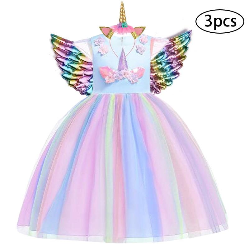 Hd191360065624a049cbb64537c0589de4 New Girls Dress 3Pcs Kids Dresses For Girl Unicorn Party Dress Christmas Carnival Costume Child Princess Dress 3 5 6 8 9 10 Year