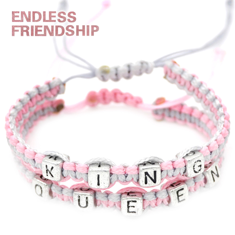 Lovers King & Queen Bracelets Letters Rope Braid Bracelet for Couples Gifts Wholesale