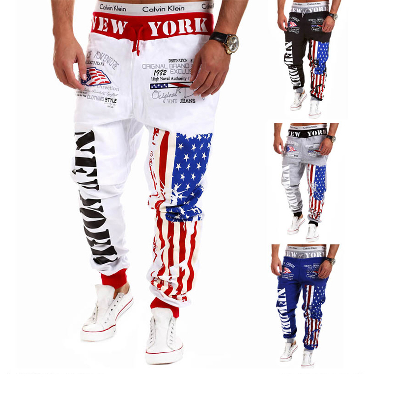 SWAGWHAT Hip Hop Joggers Men Flag Printed Harem Pants Man Sweatpants Street Wear Casual Mens Pants M-3XL Dancing Trousers