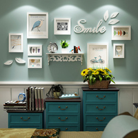 10 Pcs/Set Nordic Pastoral Photo Frames Wall Creative Wooden Picture Frame White Shelf 3D Wall Sticker Mount Decorative Painting