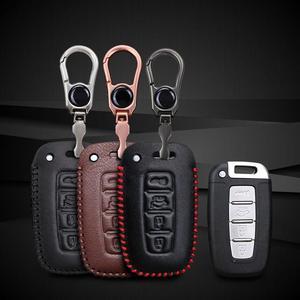 Image 2 - Etui clés de voiture en cuir pour Hyundai Long mouvement IX35 Sonata 8 pour Kia Chi Ran K2 Furui Di k5 4 boutons coque de clé à distance