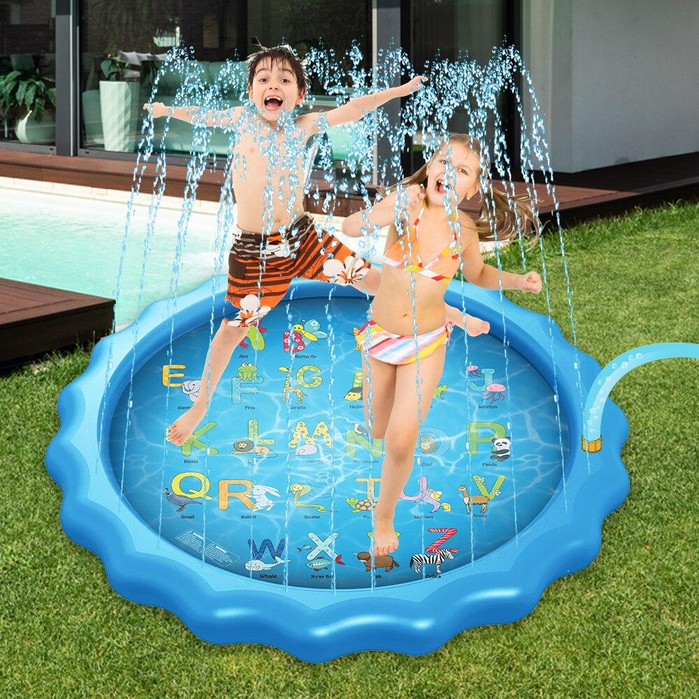 170cm Kids Sprinkler Pad Mat Children Summer Outdoor Lawn Beach Water Splash Play Mat Lawn Inflatable Sprinkler Cushion Toy