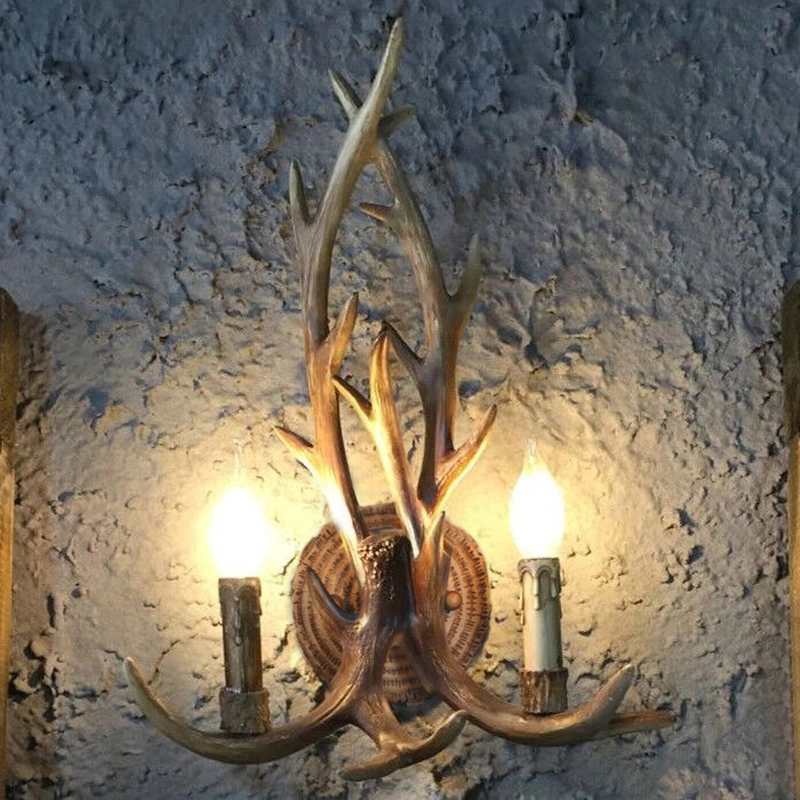 Nordic style bar barber shop wall lamp retro deer head antler lamp modern personality stairwell decorative wall lamp LB42006