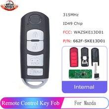 Keyecu交換リモートキーfob 4ボタン315用マツダ3 6ミアータ2013-2016 p/n: 662F-SKE13D01 fcc id: WAZSKE13D01