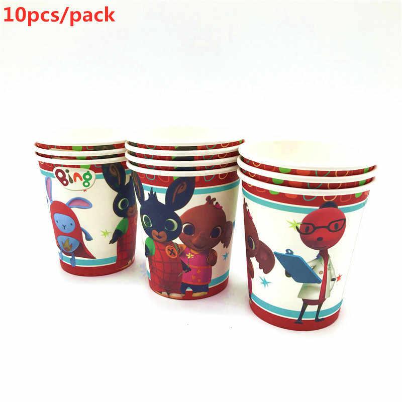 جديد Bing Bunny موضوع حفلة عيد ميلاد ديكور الصَّفيحَةُ الوَرَقِيَّة كأس منديل العلم كاندي صندوق القش مجموعة أدوات المائدة استحمام الطفل حفلة لوازم