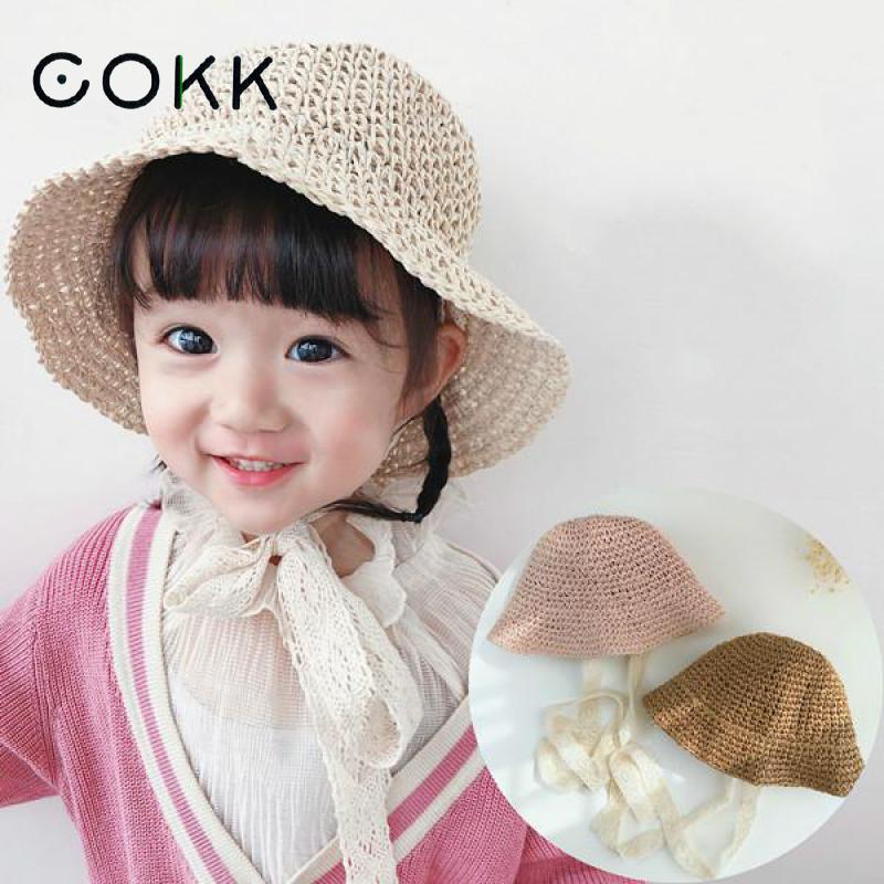 COKK Girls Straw Hats Summer Sun Hats For Girl Child Children Baby Beach Hats Long Lace Ribbon Kids Sunscreen Sunhat Cap Travel