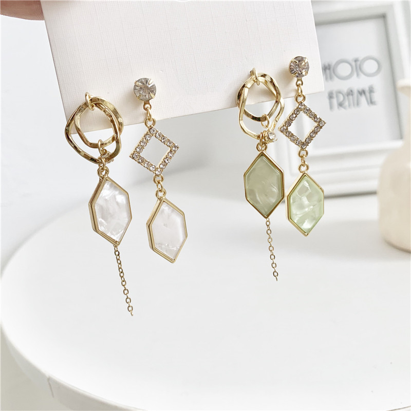 Fashion Crystal earrings Asymmetric geometry long tassel earrings temperament joker Dangle Earrings fo women Jewelry Making