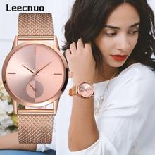 Leecnuo moda feminina senhoras relógio de pulso liga minimalista feminino luxo quartzo relógios rosa ouro para presentes