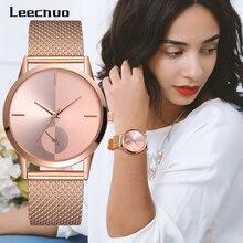 Leecnuo moda kadınlar İzle bayanlar minimalist alaşım kol saatleri kadın lüks kuvars saatler gül altın İzle kadınlar için hediyeler