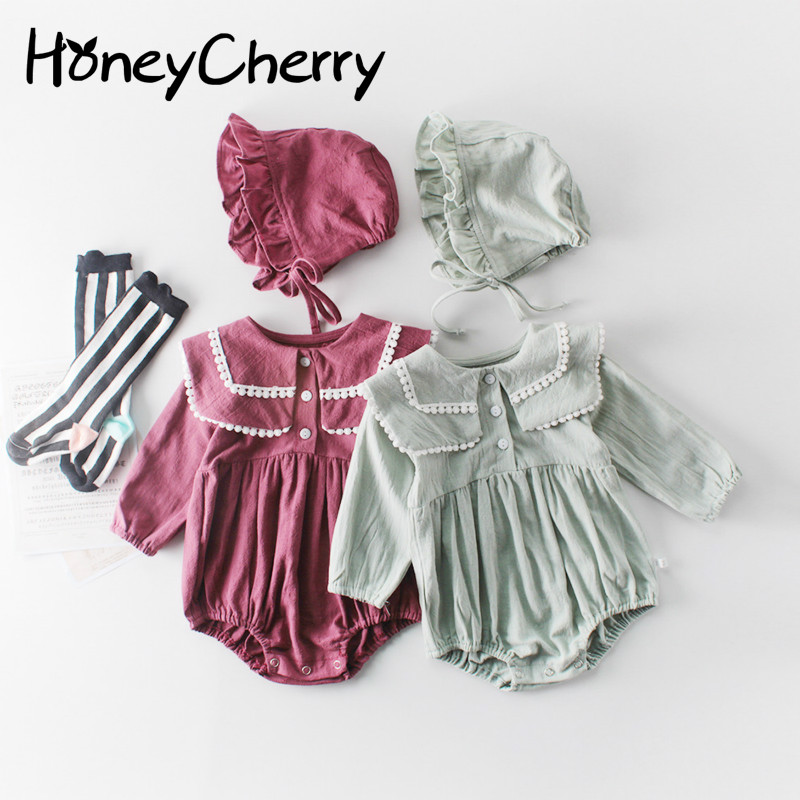 Fall Baby Girl Bodysuits 2020 New Baby Girl Lapel Long Sleeve Jacket Baby Cotton Jumpsuit Crawling Cap Baby Girl Clothes