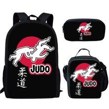 3шт дзюдо школа сумки комплект для мальчиков девочек крутые дети джиу-джитсу рюкзак начальная ученица книга сумка дети обед коробка карандаш чехол