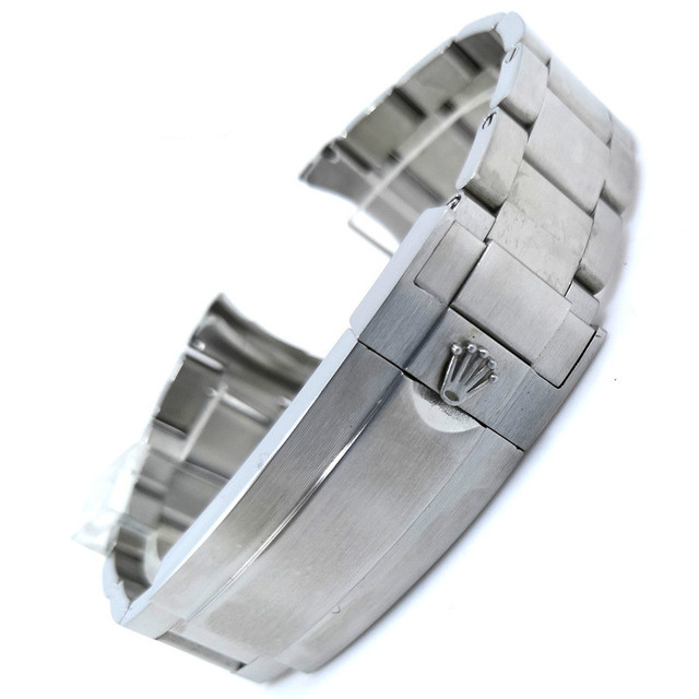 Rolex High quality Three bead stainless steel watch strap accessories 20mm smooth Silver watch strap Water ghost original strap   Fotoflaco.net