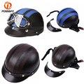 Posbay винтажные мотоциклетные шлемы для скутера  полукожаные шлемы с открытым лицом  козырьки  велосипедные защитные очки для мужчин и женщин