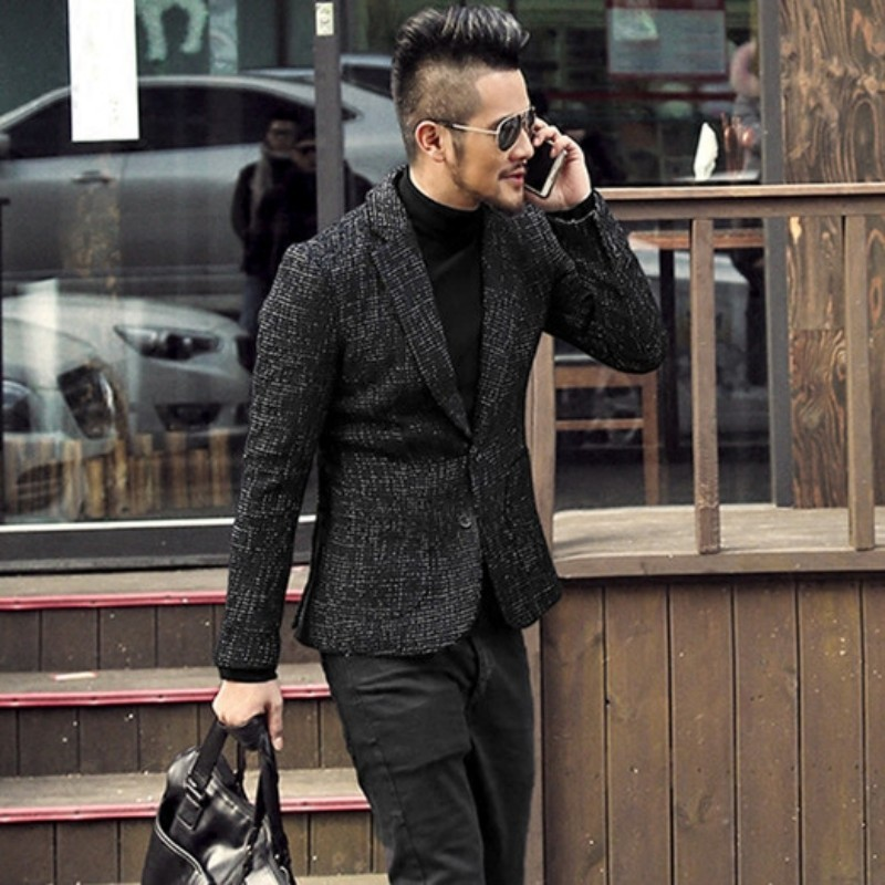 High Quality Mens New Business Slim Fit Blazer Jacket Office Work Suit Coat Single Breasted Wedding Dress Blazers Man Outerwear