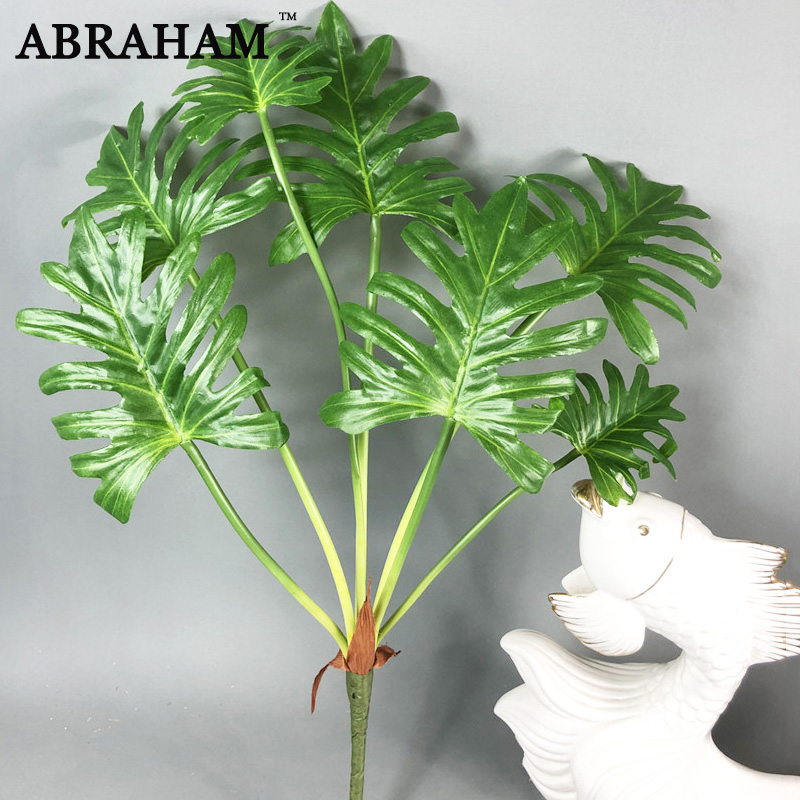 70cm 7fork Large Plastic Maranta Tree Banch Artificial Monstera Plant Tropical Leaves Fake Green Leafs For Christmas Home Decor