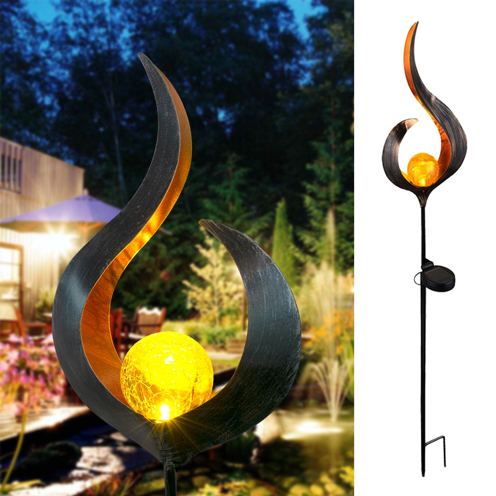 Newest Soalr Flame Light Solar Powered Metal LED Garden Light Outdoor Flame Effect Feature Lawn Ornament Warm white light