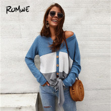 ROMWE Cut And Sew Button Front Knot Hem Cardigan Women Autumn Casual V Neck Long Sleeve Top Womens Sweaters Fall 2019 Cardigans