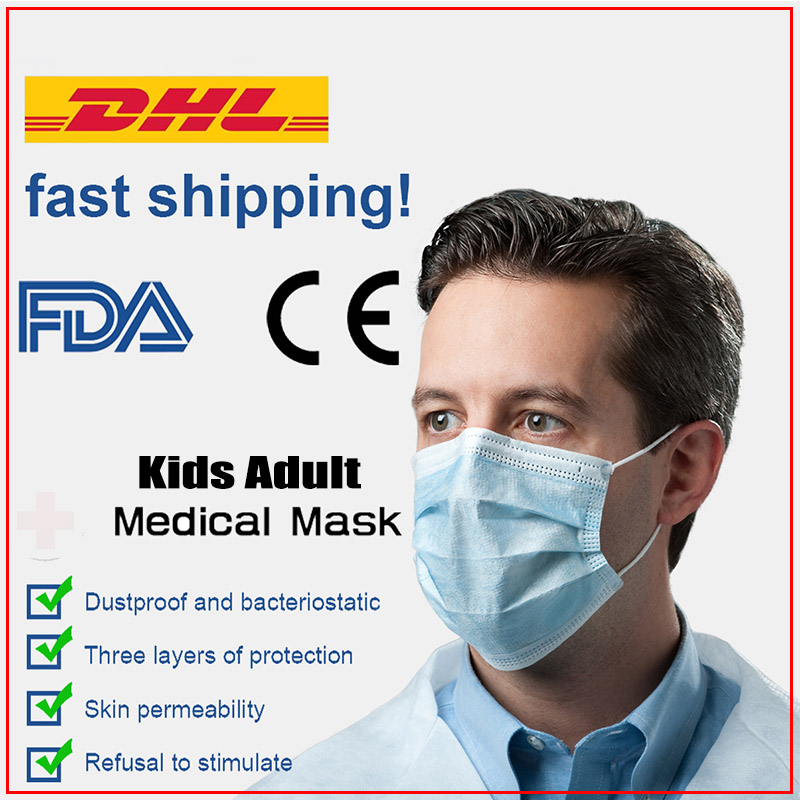 Free Shipping DHL 1000pcs  KN95 Medical Masks Medical Surgical 3-Ply Nonwoven Disposable Elastic Mouth Soft Breathable Face Mask