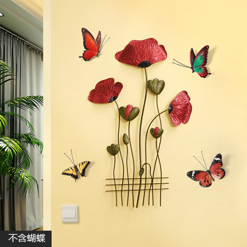 Creative Hanging Wall Mural Solid Iron Flower Pendant Wall Modern Living Room 3D Sticker Wall Decoration Aisle Porch Ornaments