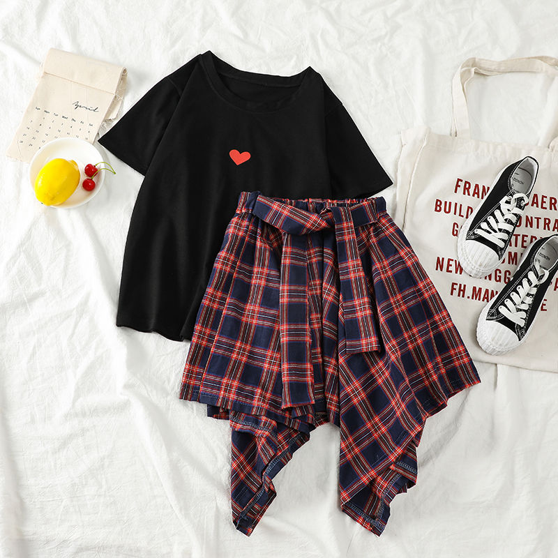 NiceMix Summer Clothes Set Love Short Skirts & T-shirts Female Irregular Plaid Skirt Student Two-piece Casual Fashion Suits