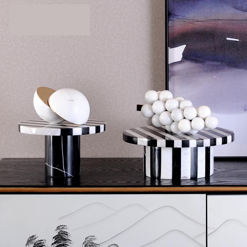 Plateau classique en marbre | Bande blanche et noire, plateau de service de gâteaux, plateau en pierre de marbre authentique fait à la main