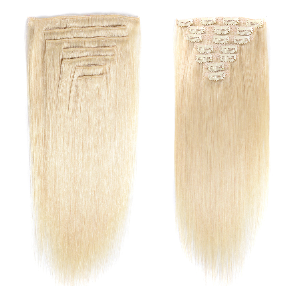 Ultimate SaleHuman-Hair-Extensions Remy-Hair Doreen Machine-Made Clip-In 60-Blonde Natural Straight