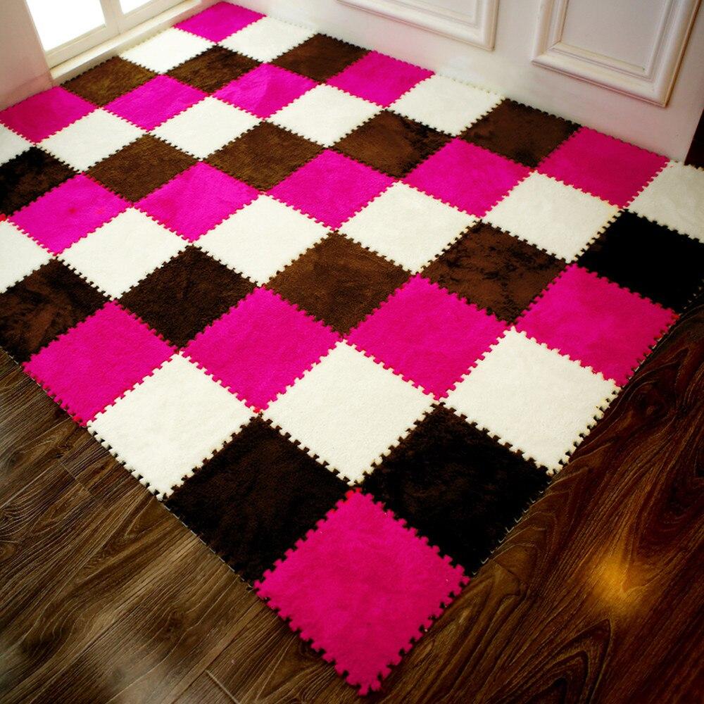 Hd192d8c468254f9d877320853baa9475v Play Mats 25X25cm Kids Carpet Foam Puzzle Mat EVA Shaggy Velvet Baby Eco Floor 7 colors 10.30