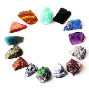 1 lote de 14 tipos de piedra de cristal caído, piedra de cuarzo, espécimen de minerales en bruto, Mini piedra preciosa Reiki Chakra, regalo de decoración