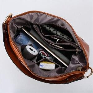 Image 5 - Vintage Bolsas Oil Leather Handbags Ladies Hand Bags for Women 2019 Luxury Handbags Women Bags Designer Casual Tote Sac A Main