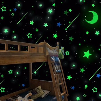 3D Star and Moon Energy Storage Fluorescent Glow In the dark Luminous on Wall Stickers for Kids Room living room Decal image