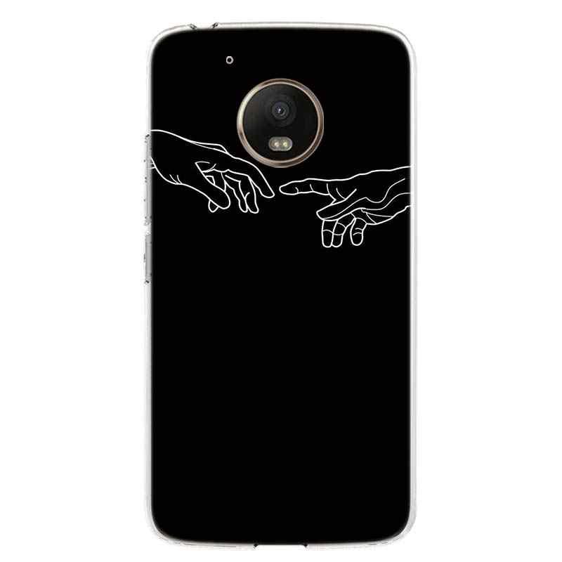 أسود زهرة بيضاء القمر نجوم الفضاء رائد الفضاء غطاء الهاتف جراب لهاتف Motorola موتو G8 G7 G6 G5S G5 E6 E5 E4 زائد G4 اللعب الاتحاد الأوروبي واحد التيار المتناوب