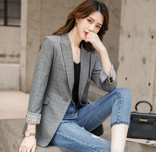 Black Blazer Outerwear Women Spring Autumn Fashion Leisure Suit Korean Patchwork Notched Single Button Formal Jackets Coat