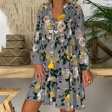 Summer Dress Elegant Quarter-Sleeve Office Loose-Print Bohemian Vintage Women Women