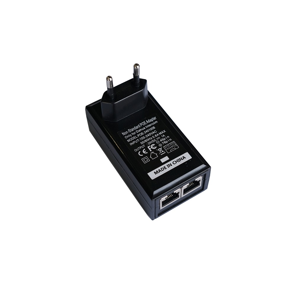 EU Plug, Non-Standard POE Power Adapter,Input AC 100-240V,Output DC24V 1A For DAHUA Video Intercom VTH1550CH VTH5221D VTO2000A