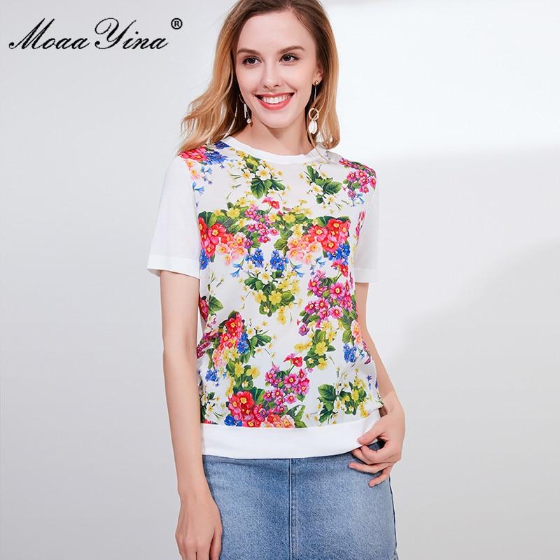 Image 4 - MoaaYina Designer Autumn Short Sleeve Black Knitting Tops Womens  Elegant Floral Print Silk Sweater Tees PulloversPullovers   -
